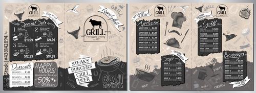 Obraz na plátne Steakhouse, grill menu card -A3 to A4 size (appetizers, grill, soups, drinks, se