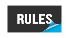RULES Text Written On Black Blue Sticker.