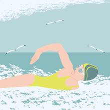 Seascape, A Girl In A Swimsuit Swims, Seagulls, Clouds, Waves, Grunge Style - Vector. Active Sports.