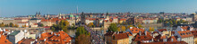 PRAGUE, CZECH REPUBLIC - OCTOBER 13, 2018: The Panorama Of The City With The Charles Bridge And The Old Town  In Evening Light.