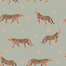 Leopard Or Cheetah Exotic Animal.  Cute Cartoon Character. Vector Seamless Pattern With Wild Cat  . Perfect For Print, Cards, Fabric, Textile.