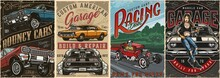 Colorful Custom Cars Vintage Posters