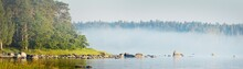 Rocks And Evergreen Pine Forest At The Coast Of Kasmu (captain's Village), Estonia, Baltic Sea. Fog, Soft Golden Sunlight. Panoramic View. Travel Destinations, Vacations, Ecotourism, Pure Nature