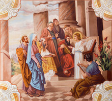 SEBECHLEBY, SLOVAKIA - AUGUS 8, 2013: Little Jesus Teaching In The Temple. Fresco From 20. Cent. By Jozef Antal In St. Michael Parish Church