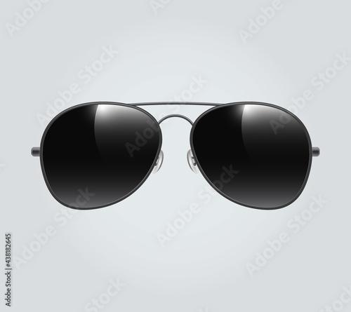 Fotografie, Tablou Black Aviator sunglasses illustration background Aviator sunglasses illustration background