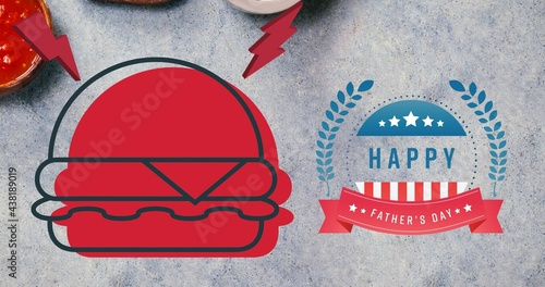 Happy independence day text and red burger icon against grey background
