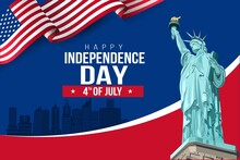 USA Happy Independence Day 4th Of July. Flyer, Banner, Poster, Greeting Card. Template With Flag And Statue Of Liberty On Blue Background. Vector Illustration Design