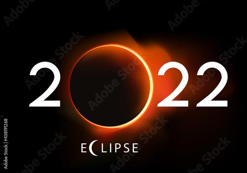 Fotografering Présentation de la nouvelle année 2022 sur le thème de l'astronomie, avec une éclipse totale du soleil
