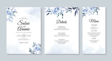 Wedding Card Invitation Set Template With Watercolor Flower