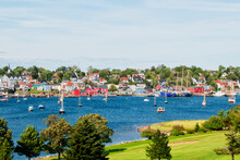 Picturesque Village Of Lunenburg Nova Scotia Canada Taken From A Park Across From The Harbor