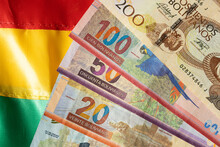 Bolivian Currency On The Background Of The National Flag, Various Banknotes, Party With Animals. Business And Financial Concept