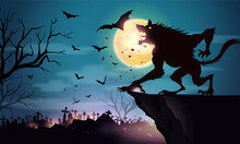 Werewolf Standing On A Rocky Cliff On A Full Moon Night On Dark Halloween Background With A Graveyard In Spooky Night.
