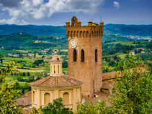 View On The Bell Tower Of The Duomo And The Church Of S.S. Crucifix In San Miniato Tuscany Italy