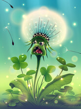 Magic Dandelion Flower With Beautiful Sunny Green Grass, Morning Clover In Fantasy Forest Or Season Summer Park, Garden, Meadow, Flying Seeds And White Fluff In Outdoors Nature, Vector Illustration.