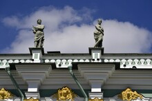 Sculptures Adorn The Roof Of The Hermitage Museum In St. Petersburg Russia
