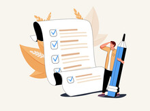 Man With Pencil Marking Completed Tasks On To-do List. Concept Of Time Management, Work Planning Method, Organization
