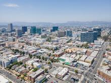 Los Angeles, CA, LA County, June 2, 2021: Aerial View Of LA Koreatown With Wilshire Blvd, Vermont St, 7th St Around Bullocks, Historical Art Deco Building, Southwestern Law School