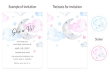 Boy Or Girl Invitation Card Layout Watercolor. Gender Reveal Party Invitations Card Pink And Blue, Moon, Clouds, Sky, Stars, Welcome Baby; Hello Girl; Hello Boy, Baby Shower, Hello World, New Parents.