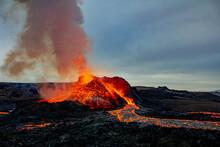 Fagradalsfjall Volcano Erupting, Reykjanes Peninsula, South West Iceland, Iceland