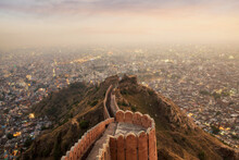 Aerial View Of Jaipur From Nahargarh Fort At Sunset, Rajasthan, India