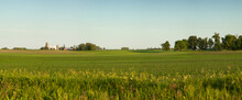 Panorama Of A Farm And Fields On A Sunny Spring Evening In Minnesota