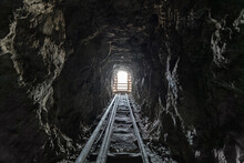 View Inside An Old Scary Abandoned Gold Mine Tunnel.