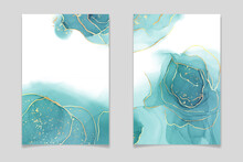 Teal Blue And Mint Colored Liquid Watercolor Background With Gold Stains And Dots. Luxury Minimal Turquoise Hand Drawn Fluid Alcohol Ink Drawing Effect. Vector Illustration Design Template