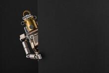 Portrait Of A Steampunk Robot Looking Around The Corner.