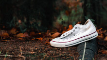 White Sneakers With Red And Blue Lines In Dirt With Fall Leaves