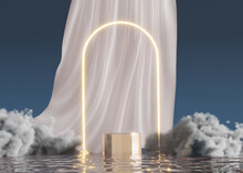 3D Podium Display On Water With Glowing Gate And Clouds. Blue Background With White Curtain Cloth.  Cosmetic Beauty Product Promotion Mock Up. Step Pedestal, Minimal Banner 3D Render