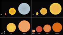 Stars Sizes Comparison. Comparison Of Different Stars Sizes Vector Design