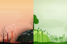 Global Warming And Climate Change Concept.Half World Of Polluted And Green Environment Background.Paper Art Of Ecology And Environment Concept.Vector Illustration.