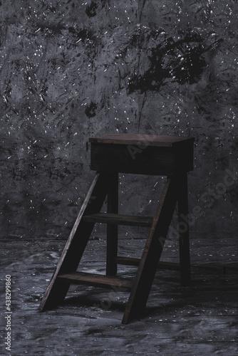 Conceptual de una escalera de madera con un fondo manchado