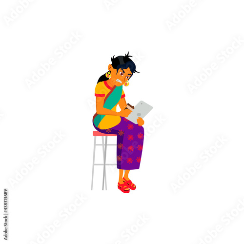 Fototapeta angry indian woman from hateful comments under photo cartoon vector