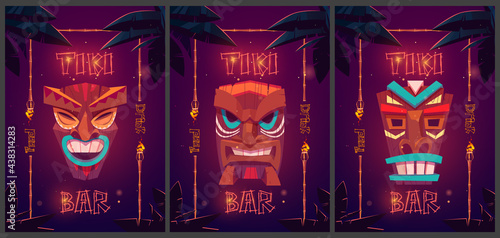 Tiki bar cartoon ad posters with tribal masks in bamboo frames and palm leaves Fototapet