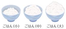 ごはん★ご飯の量の比較