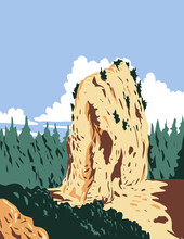 WPA Poster Art Of Sugar Loaf Located In Mackinac Island Within Mackinac National Park In Michigan That Existed From 1875 To 1895 In Works Project Administration Style Or Federal Art Project Style.