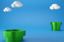 Minimal Scene White Cloud ,Green Podium On Blue Background. Geometric Shape.3D Rendering.Use For Product Showcase.