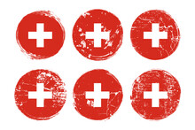 The Flag Of Switzerland Grunge Textures Set. Swiss Confederation Grungy Effect Templates Collection For Greetings Cards, Posters, Celebrate Banners And Flyers. Vector Illustration.