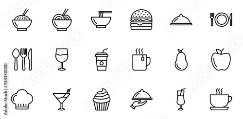 Canvastavla Food and drink icon set, restaurant icon