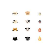 可愛い犬たち猫たち鳥たちイラスト素材