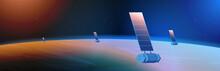 Space Exploration Astronautics Technology Concept Observation Satellite Flying Orbital Spaceflight Around Earth