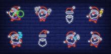 Santa Clause Having Fun Neon Sign Set