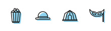 Set Line Circus Tent, Popcorn In Box, Clown Hat And Festive Mask Icon. Vector