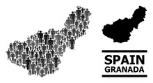 Map Of Granada Province For Demographics Projects. Vector Demographics Collage. Concept Map Of Granada Province Created Of Human Pictograms. Demographic Scheme In Dark Grey Color Shades.