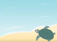 砂浜のアオウミガメのベクターイラスト