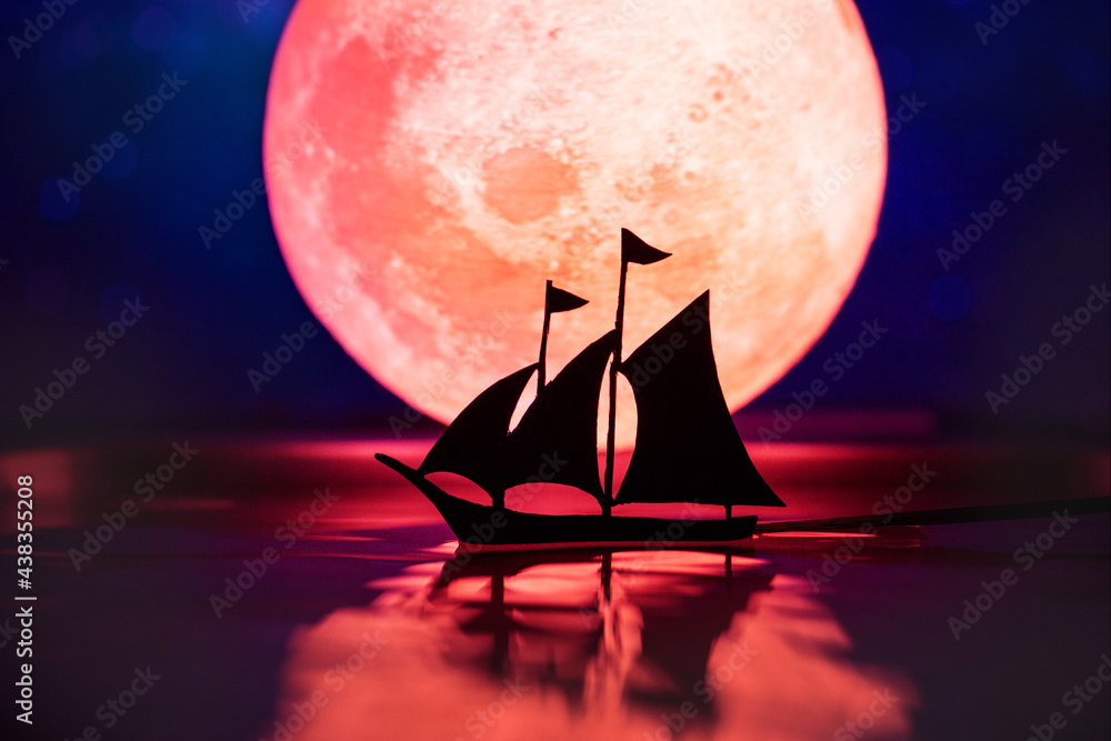 Fotografie, Obraz Sailing ship with full moon in the night