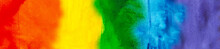 Background Painted In Rainbow LGBTQ Flag. Hand Drawn Watercolor. LGBT   Community, Tolerance, Pride Month Concept. Web Banner. Artistic Background With Copy Space For Design, Text. Website Header.