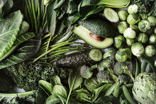 Green Vegetables Flat Lay For Healthy Diet