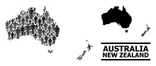 Map Of Australia And New Zealand For National Proclamations. Vector Population Mosaic. Concept Map Of Australia And New Zealand Constructed Of People Elements.